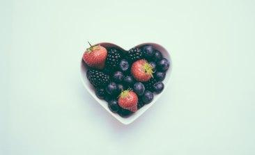 berries in heart bowl